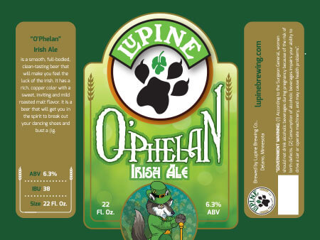 Lupine Beer Label :: O'Phelan Irish Ale