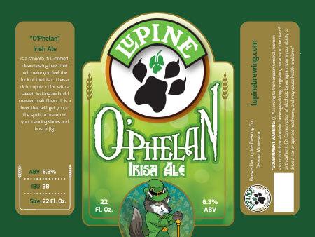 Lupine Beer Label :: O'Phelan Irish Ale